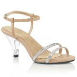 Beige Glitter 8 cm BELLE-316 lave højhælede sko med lav hæl