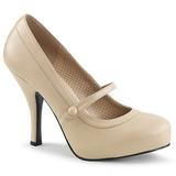 Beige Kunstlæder 11,5 cm PINUP-01 store størrelser pumps sko