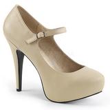 Beige Kunstlæder 13,5 cm CHLOE-02 store størrelser pumps sko