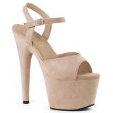 Beige Kunstlæder 18 cm ADORE-709FS højhælede sandaler til kvinder