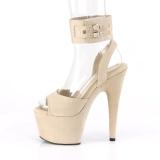 Beige Kunstlæder 18 cm ADORE-791FS pleaser høje hæle med ankelremme