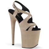 Beige Kunstlæder 20 cm FLAMINGO-831FS højhælede sandaler til kvinder