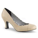 Beige Kunstlæder 7,5 cm JENNA-01 store størrelser pumps sko