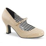 Beige Kunstlæder 7,5 cm JENNA-06 store størrelser pumps sko