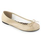 Beige Kunstlæder ANNA-01 store størrelser ballerina sko