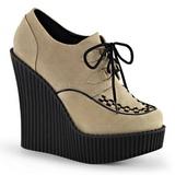 Beige Kunstlæder CREEPER-302 wedges creepers sko med kilehæle
