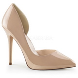 Beige Lakeret 13 cm AMUSE-22 klassisk pumps sko til damer