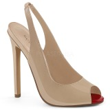 Beige Lakeret 13 cm SEXY-08 Sling Back Pumps