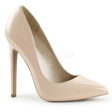 Beige Lakeret 13 cm SEXY-20 Dame Pumps Flade Hæle