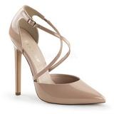 Beige Lakeret 13 cm SEXY-26 klassisk pumps sko til damer