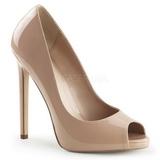 Beige Lakeret 13 cm SEXY-42 klassisk pumps sko til damer