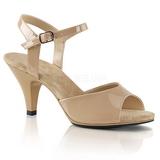 Beige Lakeret 8 cm BELLE-309 lave højhælede sko med lav hæl
