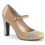 Beige Laklæder 10 cm QUEEN-02 store størrelser pumps sko