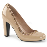 Beige Laklæder 10 cm QUEEN-04 store størrelser pumps sko