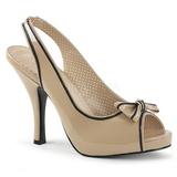 Beige Laklæder 11,5 cm PINUP-10 store størrelser sandaler dame