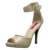 Beige Laklæder 12,5 cm EVE-02 store størrelser sandaler dame
