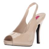 Beige Laklæder 12,5 cm EVE-04 store størrelser sandaler dame