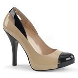 Beige Laklæder 12,5 cm EVE-07 store størrelser pumps sko