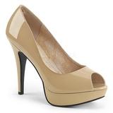 Beige Laklæder 13,5 cm CHLOE-01 store størrelser pumps sko