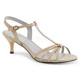 Beige Laklæder 6 cm KITTEN-06 store størrelser sandaler dame