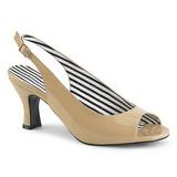 Beige Laklæder 7,5 cm JENNA-02 store størrelser sandaler dame