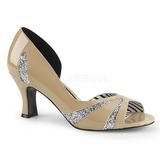 Beige Laklæder 7,5 cm JENNA-03 store størrelser pumps sko