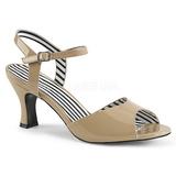 Beige Laklæder 7,5 cm JENNA-09 store størrelser sandaler dame