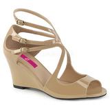 Beige Laklæder 7,5 cm KIMBERLY-04 store størrelser sandaler dame