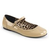 Beige Laklæder ANNA-02 store størrelser ballerina sko