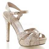 Beige Rhinestone 12 cm LUMINA-23 High Heeled Evening Sandals