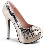 Beige Sequins 14,5 cm TEEZE-06SQ Platform Pumps Women Shoes