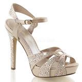 Beige Strass 12 cm LUMINA-23 højhælede sandaler til kvinder