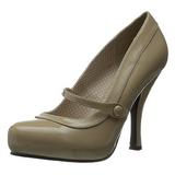 Beige Varnished 12 cm CUTIEPIE-02 Women Pumps Shoes Flat Heels