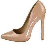Beige Varnished 13 cm SEXY-20 Women Pumps Shoes Flat Heels