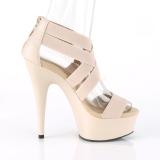 Beige elastisk bånd 15 cm DELIGHT-669 pleaser sko med høj hæl