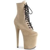Beige faux suede 20 cm FLAMINGO-1020FS Pole dancing ankle boots