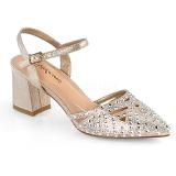 Beige glimmer 7 cm Fabulicious FAYE-06 højhælede sandaler til kvinder