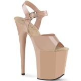 Beige high heels 20 cm FLAMINGO-808N JELLY-LIKE stretch material platform high heels