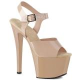 Beige høje hæle 18 cm SKY-308N JELLY-LIKE stræk materiale plateau høje hæle