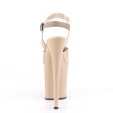 Beige høje hæle 20 cm FLAMINGO-808N JELLY-LIKE stræk materiale plateau høje hæle