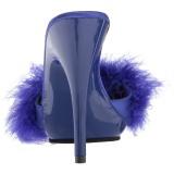 Blå 13 cm POISE-501F Marabou fjer Høje Slip in sko