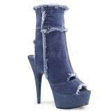 Blå 15 cm DELIGHT-1030 canvas sneakers med høje hæle