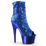 Blå 18 cm ADORE-1008SQ ankelstøvler til damer med pailletter