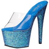 Blå 18 cm ADORE-701LG glitter plateau mules damer med hæl