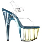 Blå 18 cm ADORE-708MCT Akryl plateau high heels sko