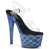 Blå 18 cm ADORE-708MSLG glitter plateau sandaler sko