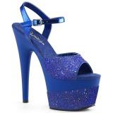 Blå 18 cm ADORE-709-2G glitter plateau sandaler sko
