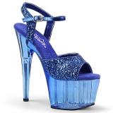 Blå 18 cm ADORE-710GT glitter plateau high heels sko