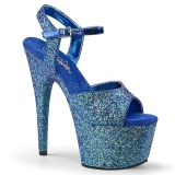 Blå 18 cm ADORE-710LG glitter plateau high heels sko