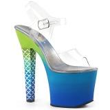 Blå 18 cm ARIEL-708OMBRE Akryl plateau high heels sko